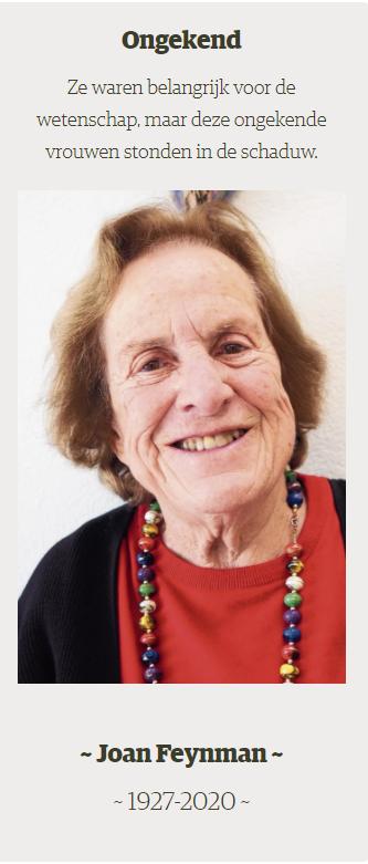 Belangrijke vrouwen in de wetenschap. Joan Feynman